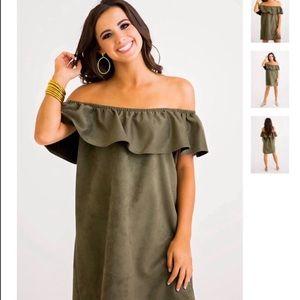 Karlie faux suede off shoulder olive dress size s